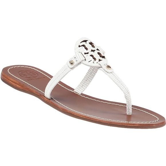 91a7cfcfb8e Tory Burch Mini Miller Ivory Leather Flat Sandal. M 5c8c626b9539f76041683e1c